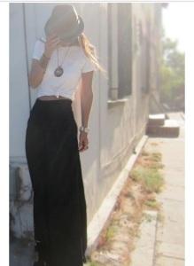 white tee with maxi skirt